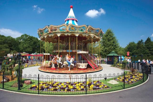 Amusement park double decker carousel